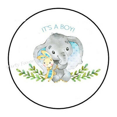 "30 1.5/"" THANK YOU ELEPHANT ITS A BOY FAVOR LABELS ROUND STICKERS ENVELOPE SEALS"