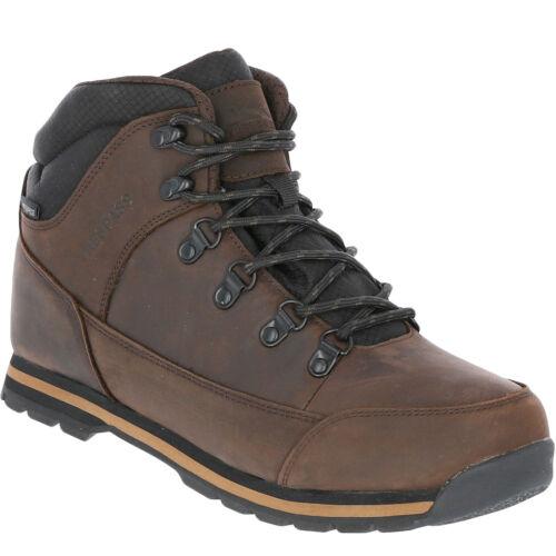 Trespass Mens Jericho Leather Waterproof Walking Hiking Boots Dark Brown