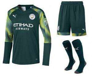 new product 27dd3 00568 Details about Puma Manchester City Home Goalkeeper Kit Shirt 2019/20 - Kids