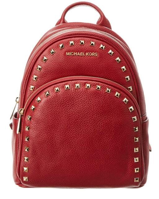 df0d3493e966 Michael Kors Abbey Leather Medium Frame Out Stud Backpack Book Bag Handbag  Red