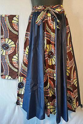 """African Wax Print Ankara Maxi Women Skirt 2 Pocket Belt Free Size Waist 50/"""" P35"""