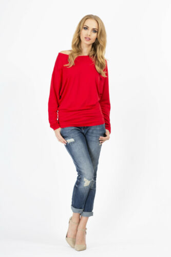 Women/'s Top Batwing Boat Neck Kimono Jumper Sweater Long Sleeve Sizes 8-18 8520
