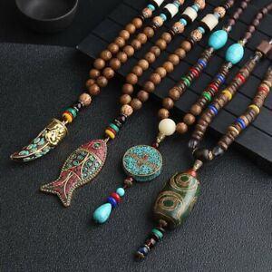 Nepal-Buddhist-Mala-Beads-Ethnic-Long-Statement-Pendant-Necklace-Handmade-Retro