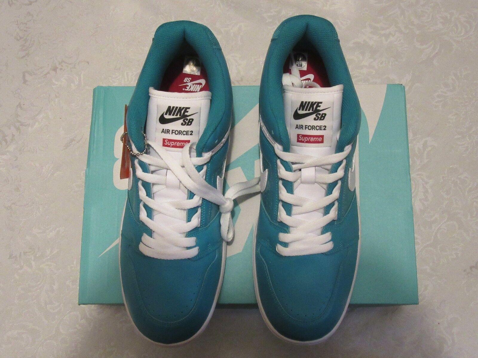 Nike AF2 Supreme SB Low Emerald Blue World Famous Air Force 2 AA0871 313 Sz 11
