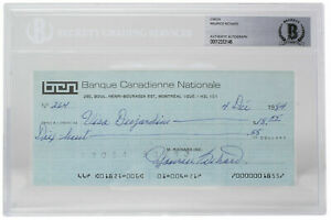 Maurice Richard Signed Montreal Canadiens Personal Bank Check #264 BGS