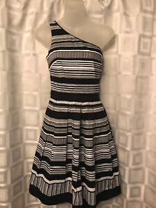 Details About Whbm White House Black Market One Shoulder Dress Striped Pattern Size 4