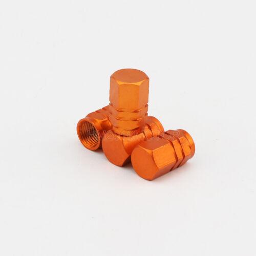 4x Orange Aluminum Wheel Rim Tyre Valve Stem Caps Hexagon Style For Mack Truck