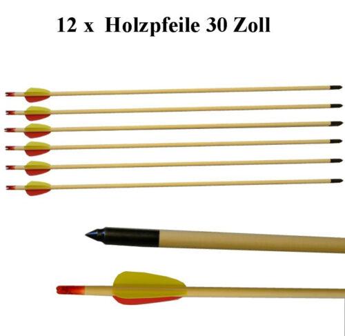 """für Compound // Recurve Bogen Bogensport 12 Pfeile aus Holz 30/"""" Zoll ca.80cm"""