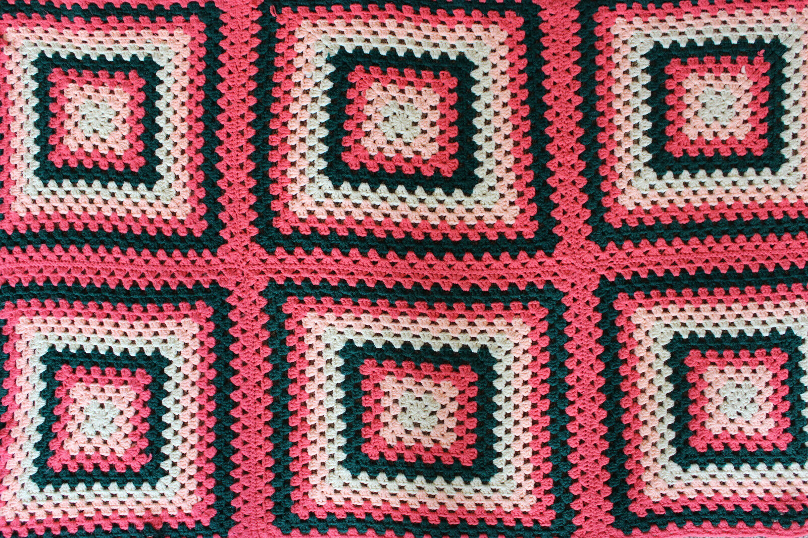 Hand Made Crochet Granny Square Afghan Pink Green White Throw Blanket 34  x 53