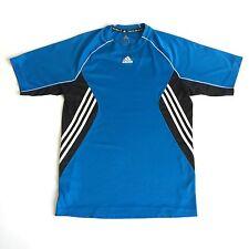 Adidas Medium Dri Fit Shirt Clima Work Out Gym Run Health Goth Black Blue Stripe