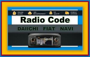 Radio CODE Daiichi Fiat Navi Key Security Pass Codice radio Daiihi Daihi