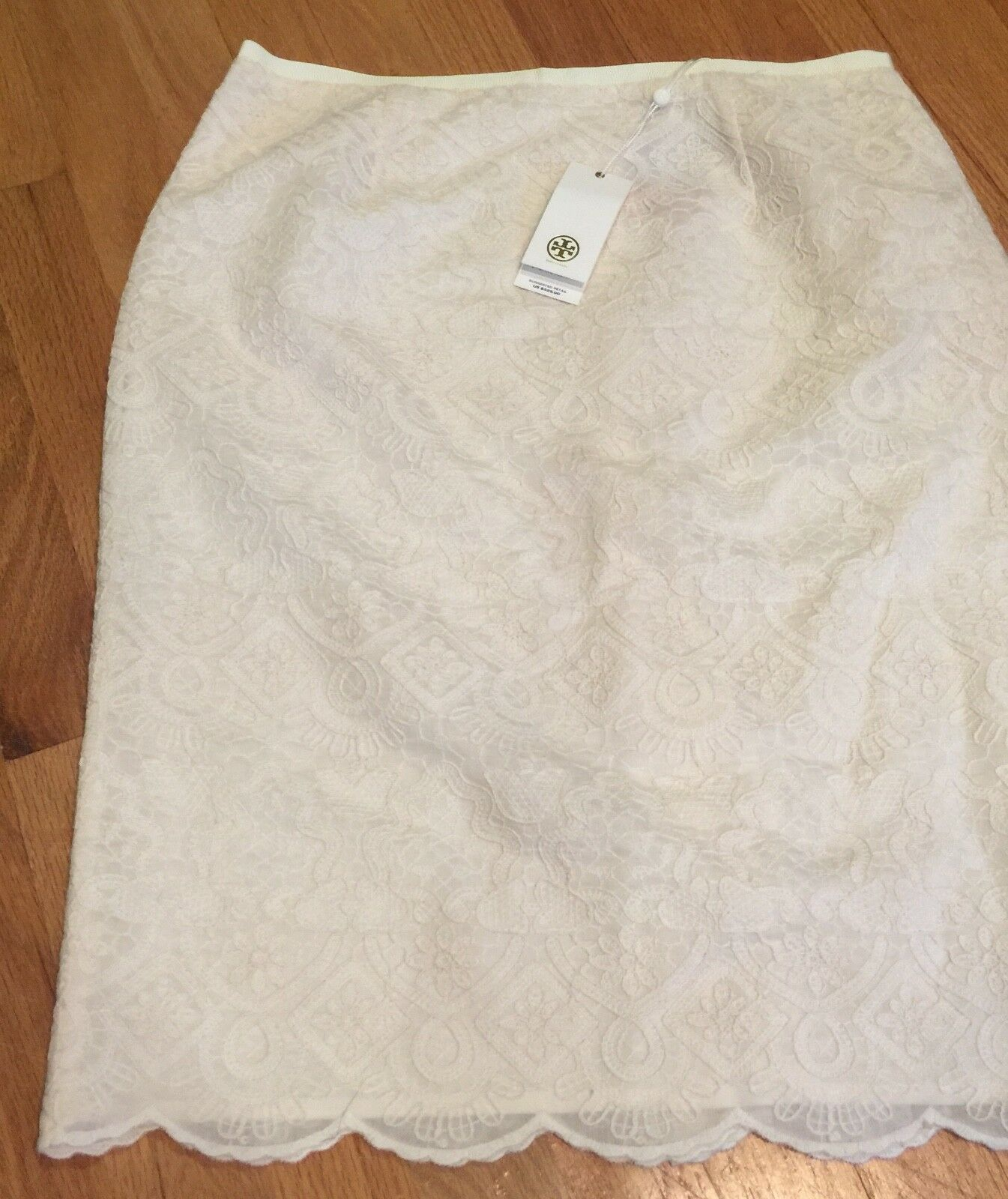 NWT Tory Burch Lace Debra Skirt New Ivory Cream White Scallop Hem Sz 10 M  325