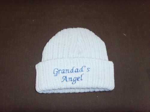 Baby Knitted Wool Embroidered Personalised Hat With Saying Grandad/'s Angel