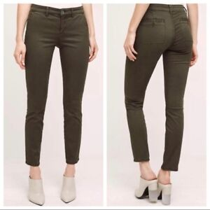 c7c5f9217a02 Image is loading Anthropologie-HEI-HEI-Abroad-Sateen-Skinny-Pants-Olive-