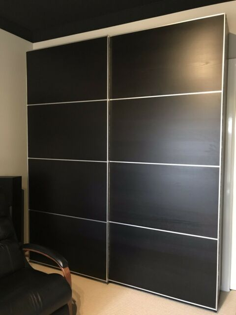 cheap for discount e5ca1 b1e7d Ikea Pax Double Wardrobe Sliding Doors ilseng Black Brown