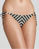 Ella Moss Medium Black/gold Stripe Tie Side Bikini Swimsuit Bottoms M