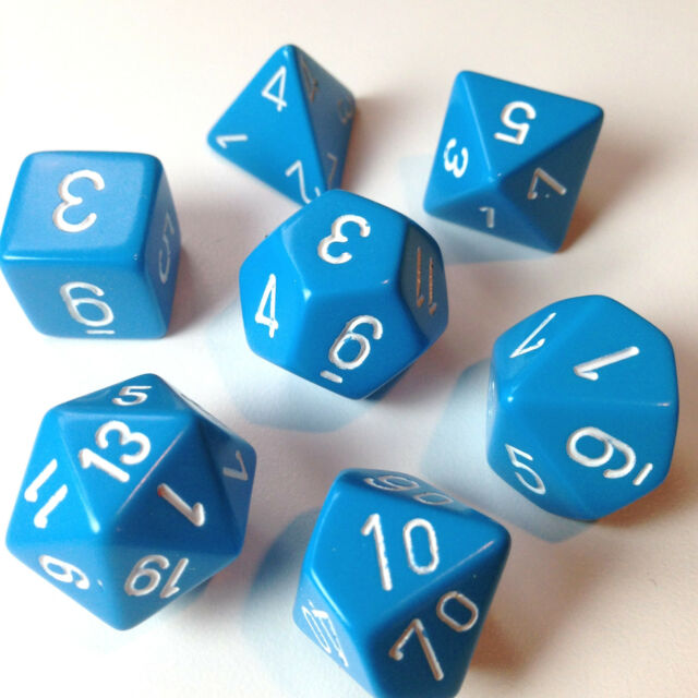 Chessex Dice Poly Opaque Light Blue w/ White -Set Of 7- 25416 - Free Bag!