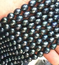 "BEAUTIFUL 9-10MM NATURAL SOUTH SEA BAROQUE BLACK PEARL loose beads 14"""