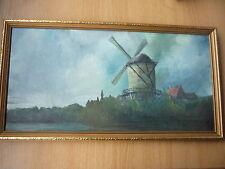 Original Landscape Windmill Oil Painting on Board - Framed