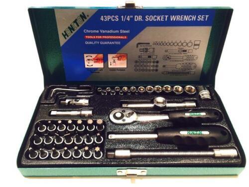 "HONITON 1/4"" socket set 43 pcs, 4-13 mm, reversible ratchet, hex, torx (H1143)"