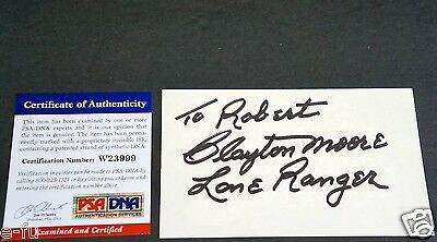Entertainment Memorabilia Clayton Moore Signed 3x5 The Lone Ranger Inscription Auto Psa/dna Coa Autograph