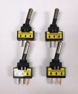 4 BBT Panel Mount Lighted Green LED Heavy Duty On/Off 20 amp Toggle Switches