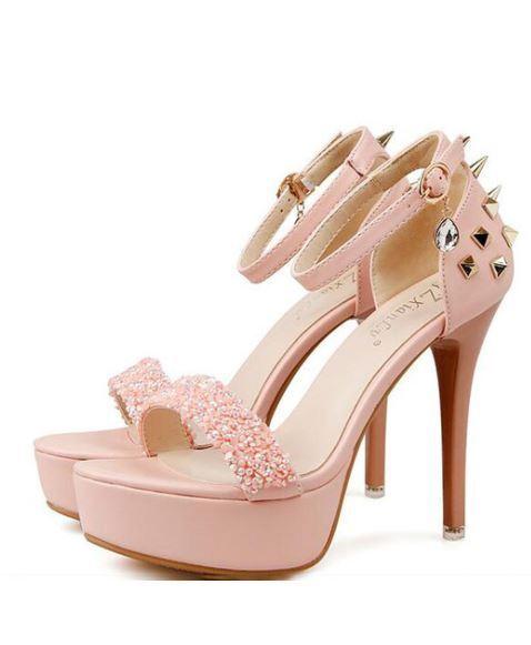 Sandali stiletto eleganti 12 cm pink simil pelle simil pelle eleganti 9486