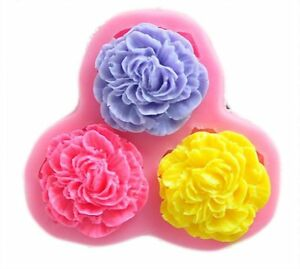 3 Flowers Silicone Cake Fondant Decorating Mold Cake Topper Resin Clay DIY Molds