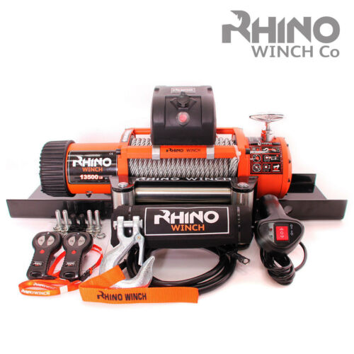 13500lb RHINO 24v Electric Winch Heavy Duty 4x4 Car Recovery Mounting Plate