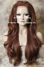 Heat Safe LACE FRONT WIG Extra Long Wavy Copper Red JSEM 130