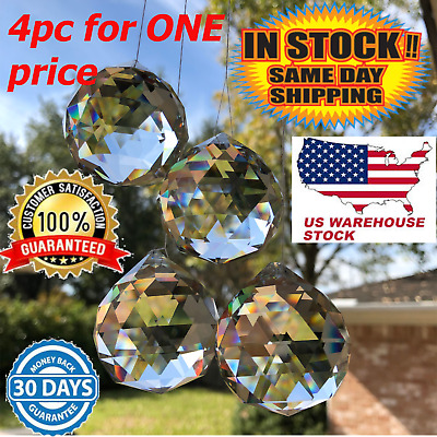 2PC Clear Feng Shui Hanging Crystal Ball Sphere Prism Faceted Sun Catcher 20Mm