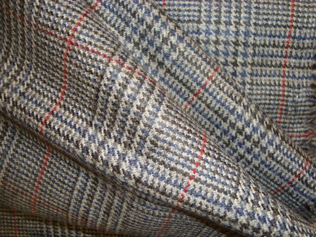 """2.6 yd WOOL CASHMERE HOUNDSTOOTH PLAID 11 oz FABRIC Jacket SUITING 60"""" x 94"""" BTP"""