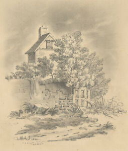M.A.J - 1844 Graphite Drawing, A Rural Cottage
