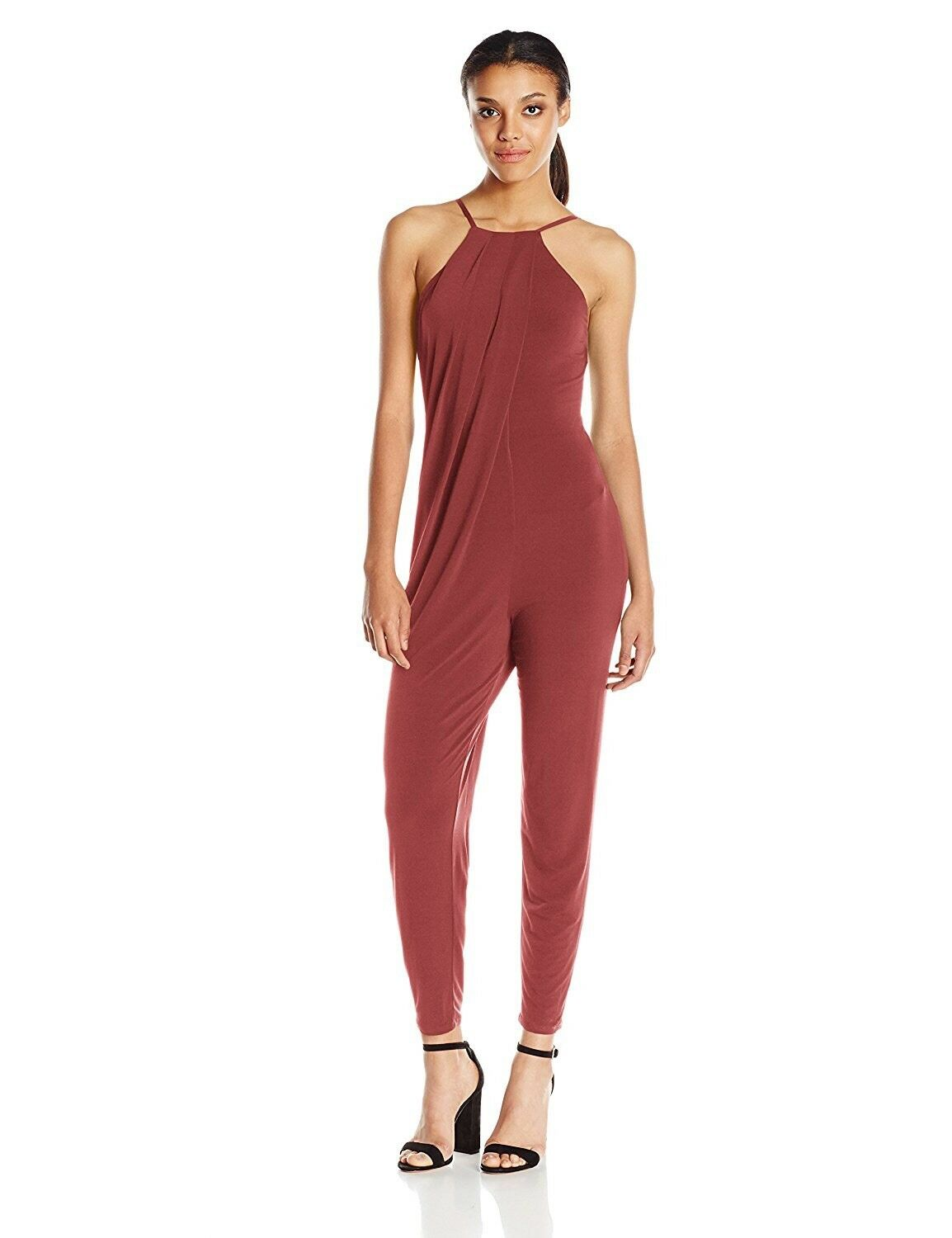BCBGeneration Women's Cross Front Halter Jumpsuit Mahogany - Size Small