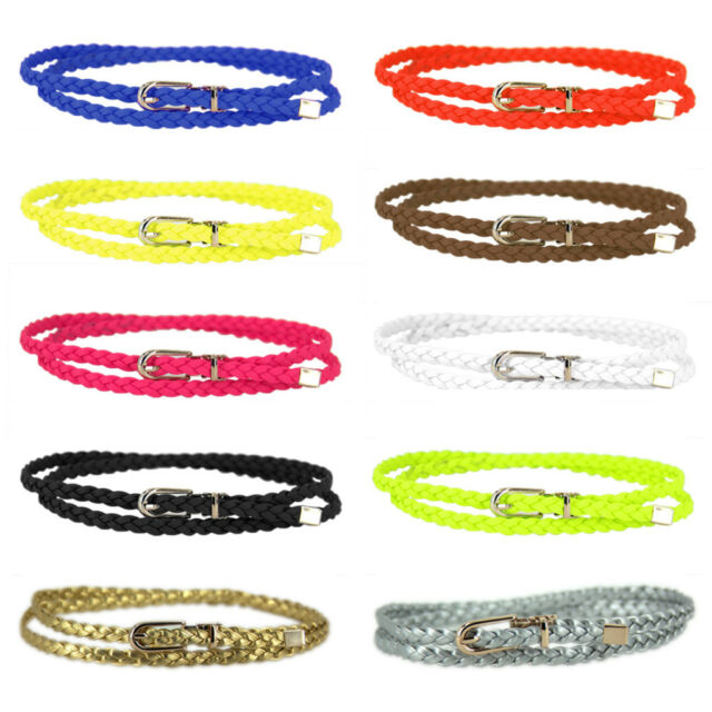 Women Lady Girl Braided PU Leather Belt Skinny Narrow Thin Cross Buckle Colorful