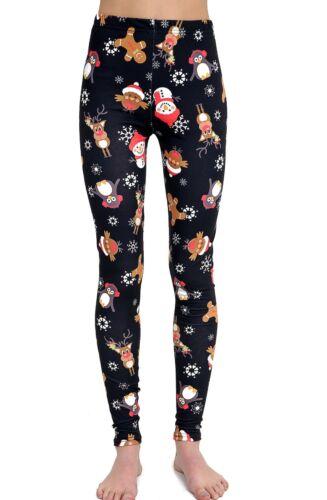 Women Ladies Santa Snowman Gingerbread Snowflake print Christmas leggings pants