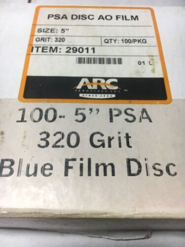"ARC 5/"" PSA 320 Grit Blue Film Disc Sand Paper 100 In Box /""Unopened/"" Warranty!"