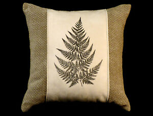 New-Embroidered-Sage-Green-amp-Cream-Fern-Pillow-New-16-x-16-Insert-Item-280