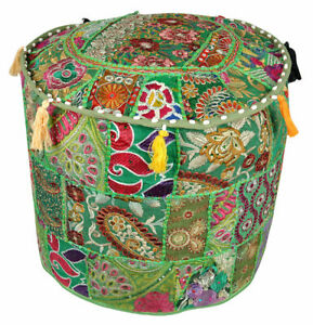 Green-22-034-Indian-Ottoman-Patchwork-Footstool-Home-Decor-Pouffe-Pouf-Cover