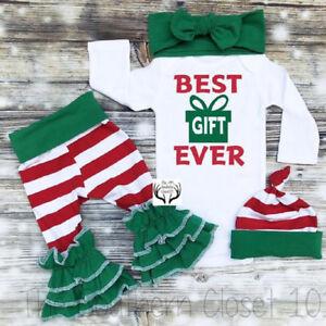 a1b23e297770 US Christmas Newborn Baby Girl Xmas Long Sleeve Romper Striped Pants ...