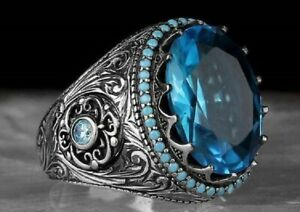 Gorgeous-925-Silver-Wedding-Rings-Women-Round-Cut-Aquamarine-Rings-Gift-Size6-13