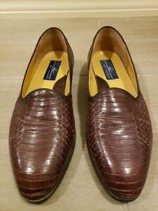 VGUC-Giorgio-Brutini-Collection-Mens-Size-11-5M-Purple-suade-Snakeskin-Loafers