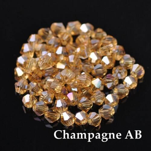 100pcs 6 mm bobine biconique à facettes 5301# Crystal Glass Loose Spacer Beads À faire soi-même Bijoux