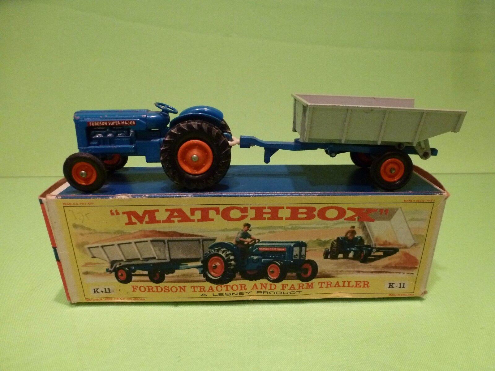 alta calidad general MATCHBOX LESNEY K-11 FORDSON TRACTOR + FARM TRAILER - - - azul gris - RARE - GIB  ahorra hasta un 70%