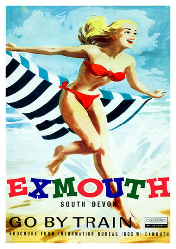 Wall art Reproduction. Exmouth : Vintage British Railways advert poster