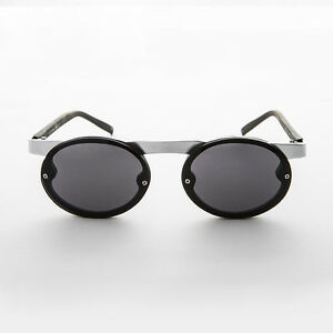 90s Oval Steampunk Vintage Sunglass w/ Floating Brow Line Silver / Black-Oswald