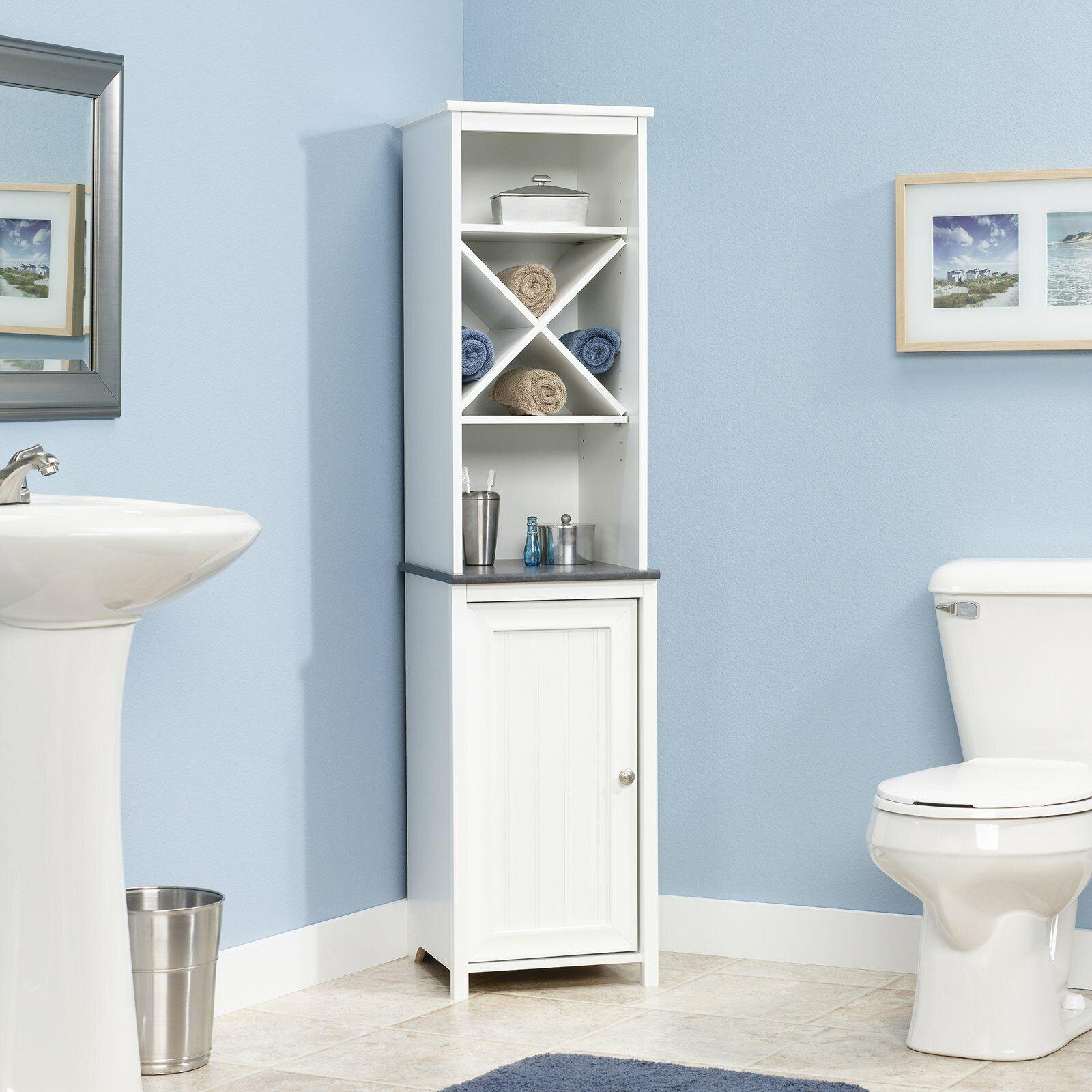 Tall Corner Shelf White 2 Shutter Doors Bathroom Storage Linen Cabinet Display For Sale Online Ebay
