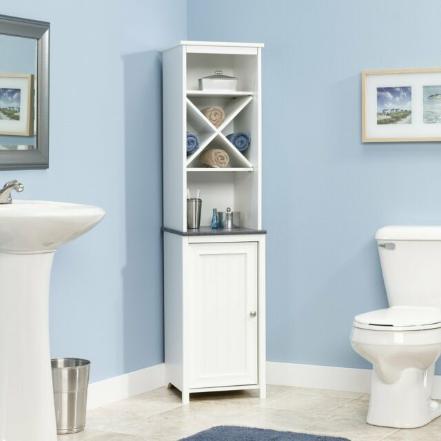 Tall Corner Shelf White 2 Shutter Doors Bathroom Storage Linen Cabinet Display For Sale Online Ebay