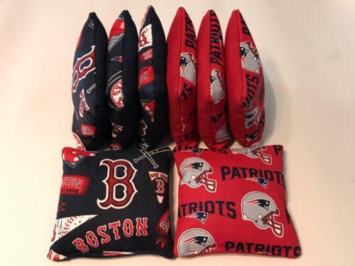 NEW ENGLAND PATRIOTS BOSTON Red Sox CORN HOLE BEAN BAGS SET OF 8 REGULATION
