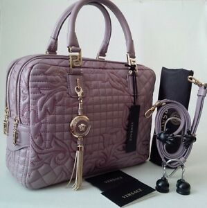 Image Is Loading Nwt 3455 Versace Vanitas Demetra Barocco Quilt Leather